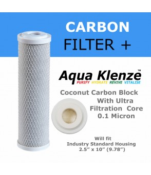 0.1 Micron Dual Activated Coconut Carbon Block Filter Cartridge with Pharmaceutical Grade Ultra Filtration Membrane core. AquaKlenzeUFCCB-0.1Direct Water Filters