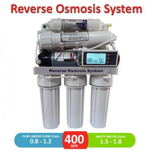 400 GPD direct flow reverse osmosis pumped system with LCD