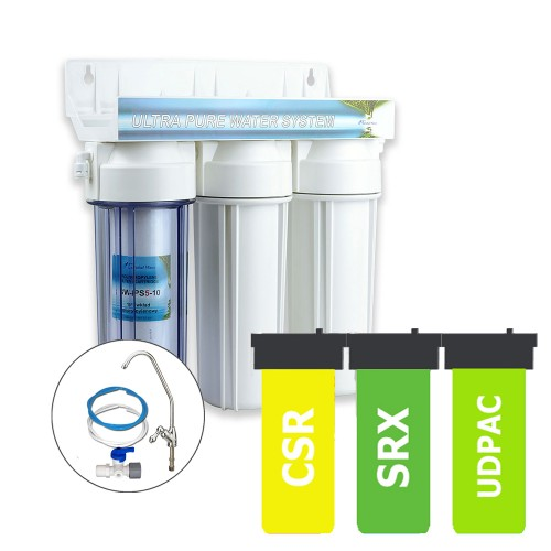 Limescale, Bacteria, Cysts & Chlorine removal Triple Deluxe Water Filtration System