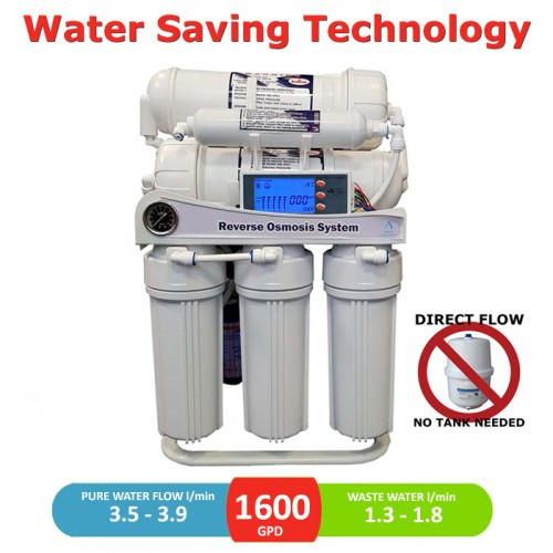 1600 GPD direct flow reverse osmosis pumped system with LCD