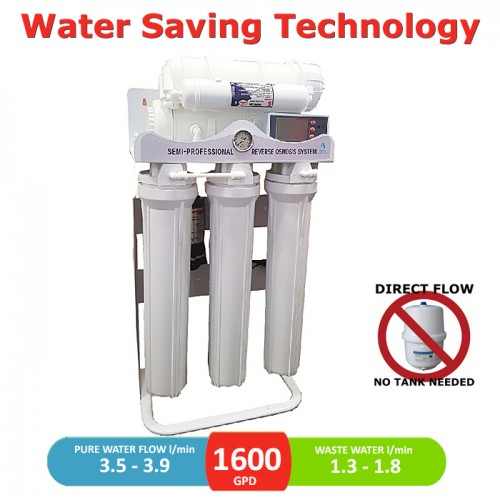 1600 GPD commercial direct flow reverse osmosis pumped system with LCD