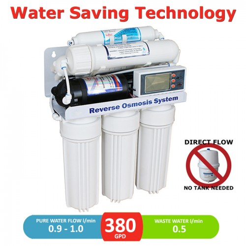 380 GPD direct flow reverse osmosis pumped system with LCD