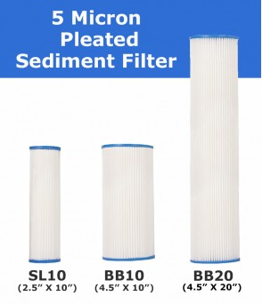 5 Micron Pleated Sediment Cartridge Standard Water Filters5PSEDDirect Water Filters